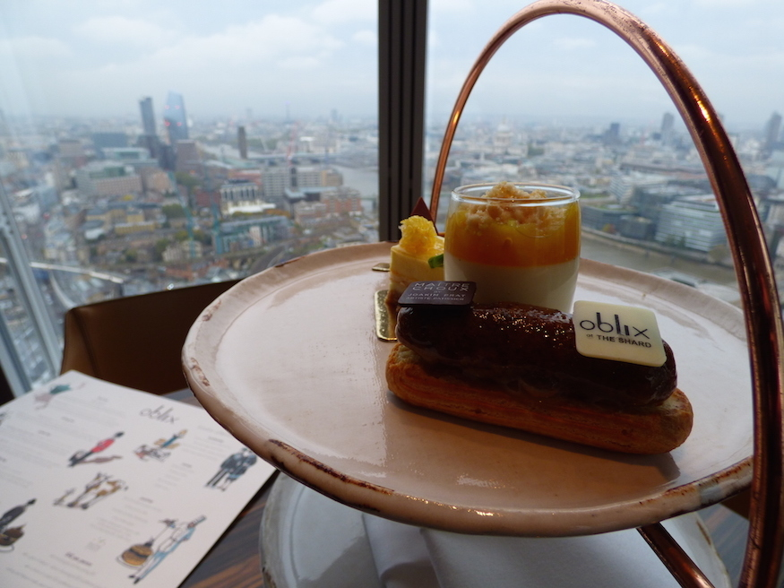 Cakes on an afternoon tea stand at Oblix at The Shard