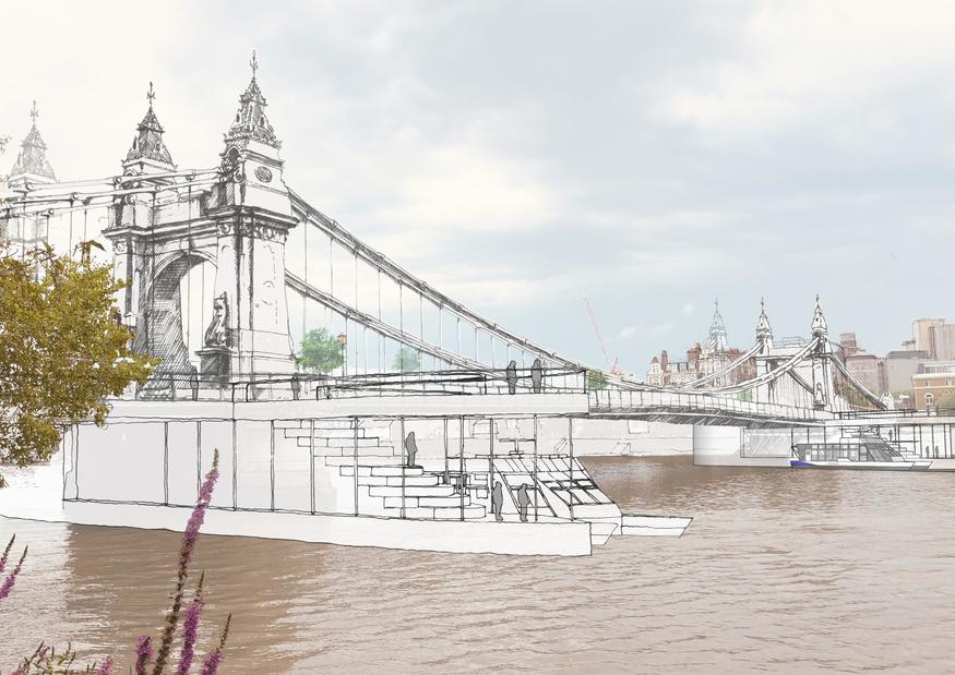 A pedestrianised Hammersmith Bridge, with passenger ferries