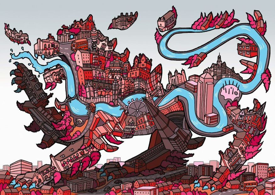 A red lion made up of red London buildings with the Thames running through it like an alimentary canal.