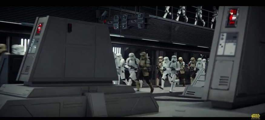 Stormtroopers run along a tube platform