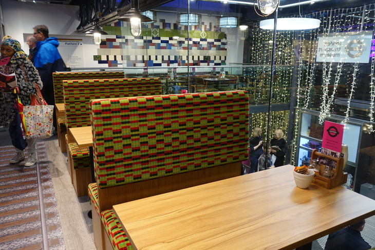 Moquette seats at London Transport Museum Canteen