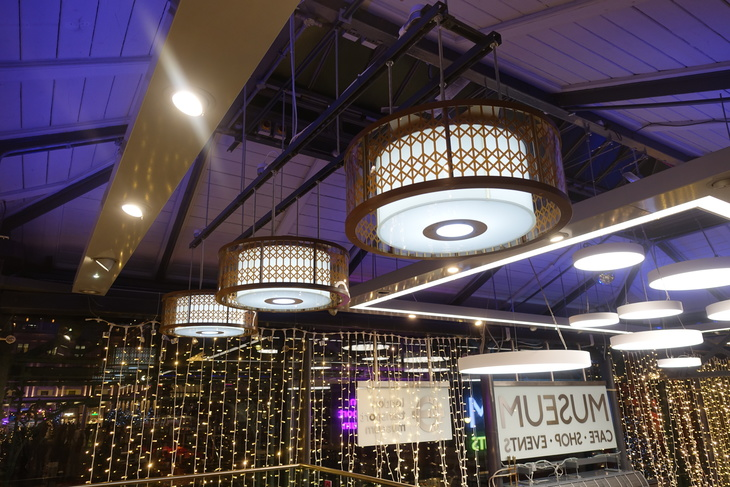 Light fittings at Canteen in London Transport Museum