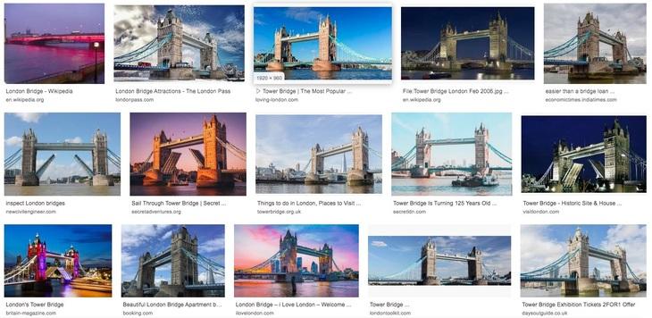Google Images search of London Bridge