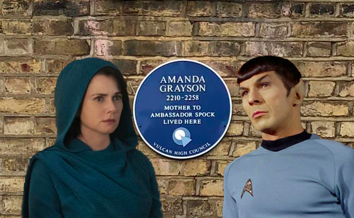 Amanda Grayson, Spock and a plaque in South London
