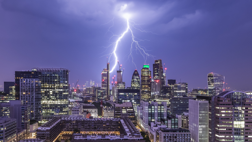 Lightning strikes the City