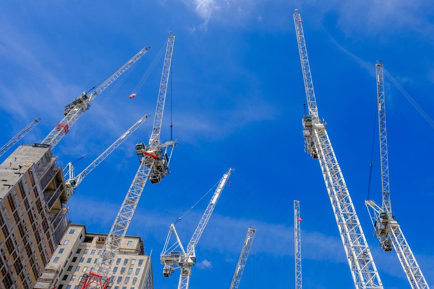 Cranes on the London horizon