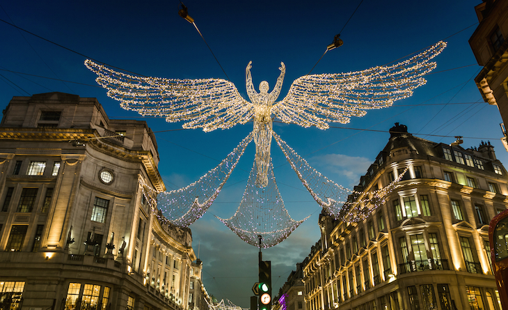 The Regent Street Christmas lights angels at dusk