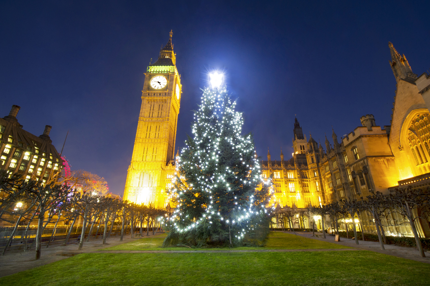 Christmas tree outside Houses of Parliament and Big Ben