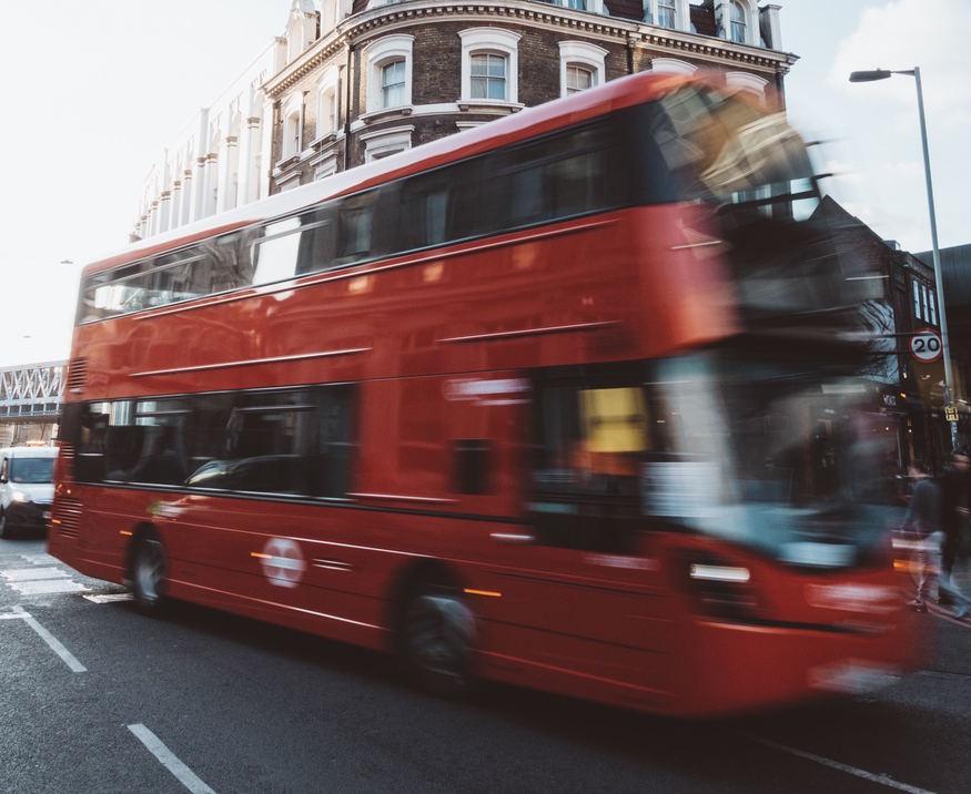 Bus speeding by