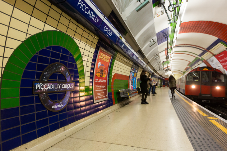 The night tube rolls into Piccadilly Circus