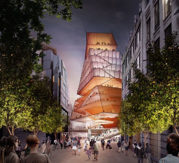 Plans for a Centre for Music concert hall on the Museum of London site on London Wall. A twisted pyramid building, several storeys high.