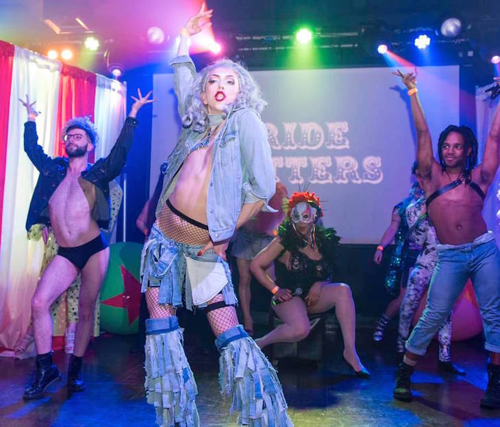 Performers on stage at Winter Pride in London