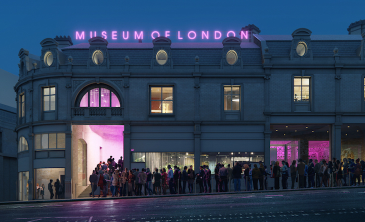 Artist's impression of new Museum of London building in Smithfield at night, with a neon sign on the roof and a crowd queuing to get in.