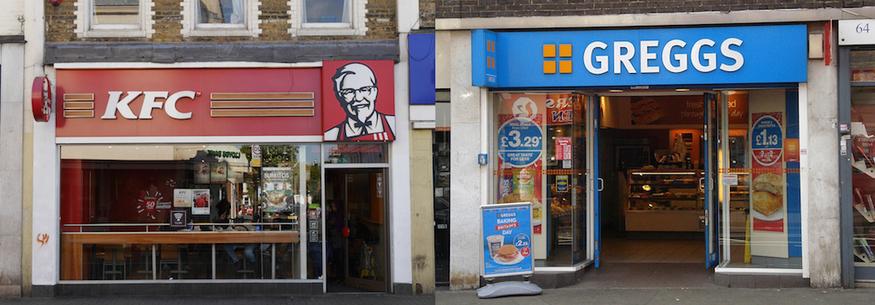 KFC and Greggs collage