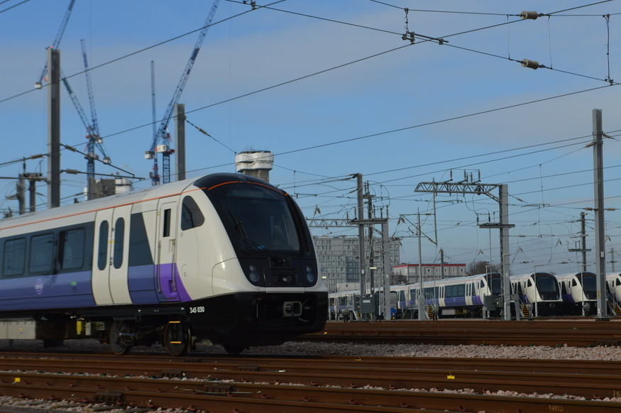 Crossrail trains in a depot
