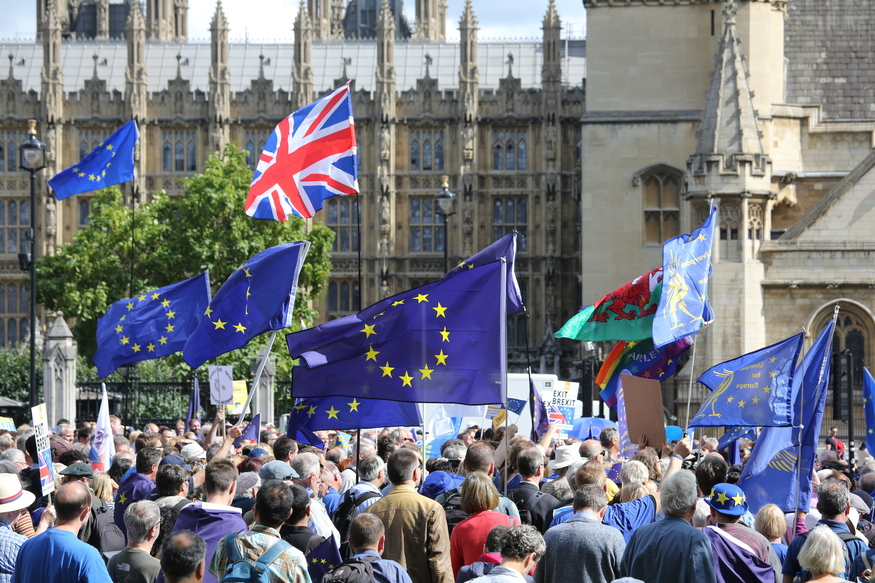 EU flags outside Houses of Parliament