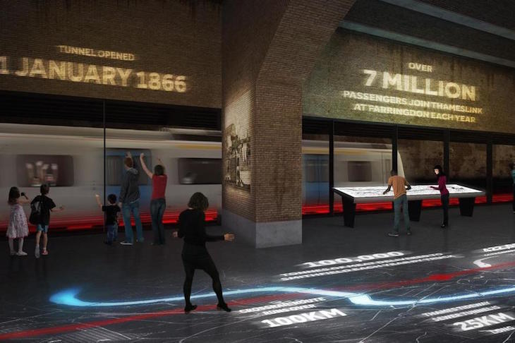 Artist's impression inside new Museum of London buildings in Smithfield, with glass windows showing a train going past in the Thameslink tunnel