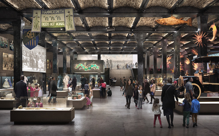 Artist's impression of inside the new Museum of London building in Smithfield, with visitors walking about the museum exhibitions