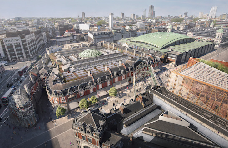View over the rooftops of new Museum of London home in Smithfield Market buildings, looking north-east.