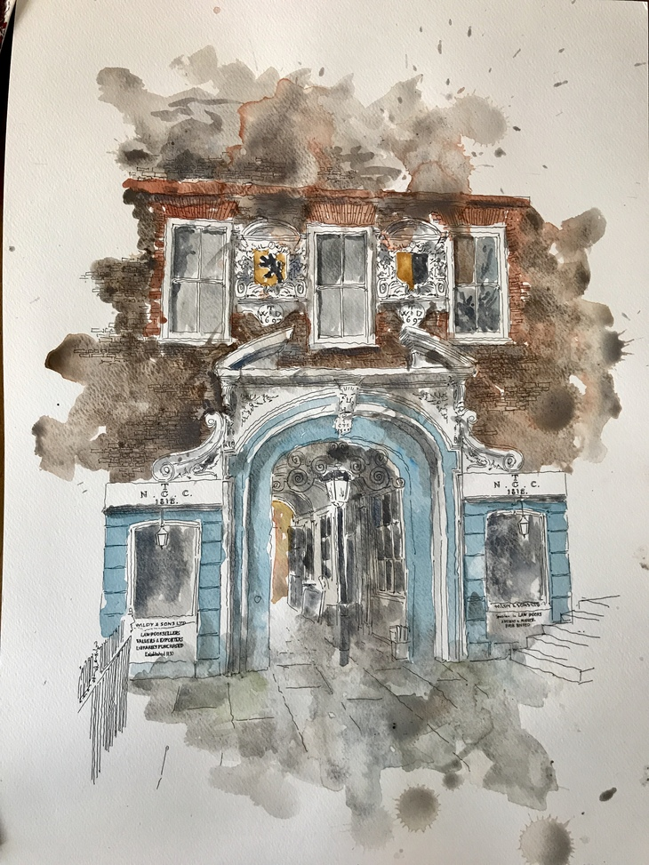 Watercolour brown and blue London building