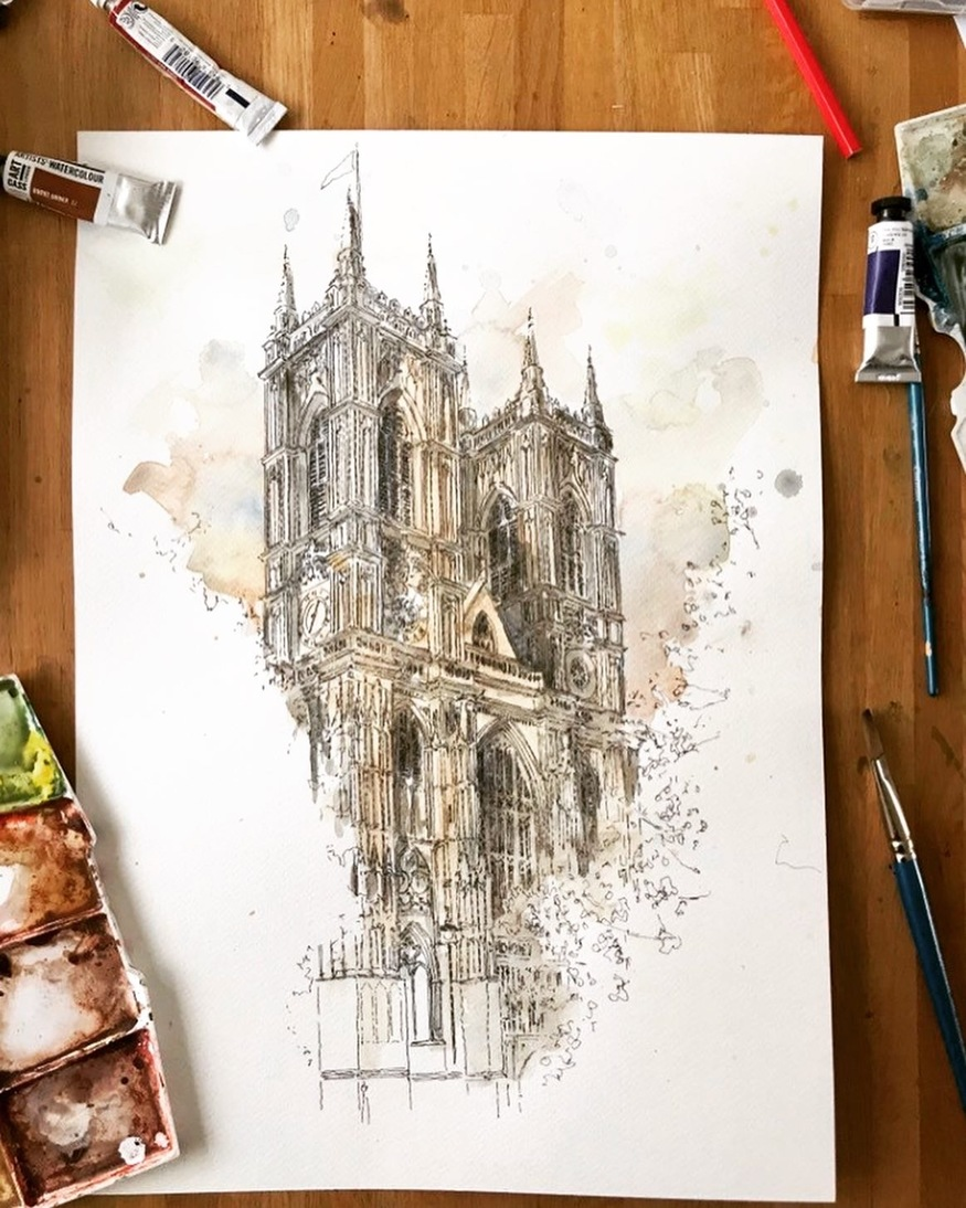 Watercolour Westminster Abbey