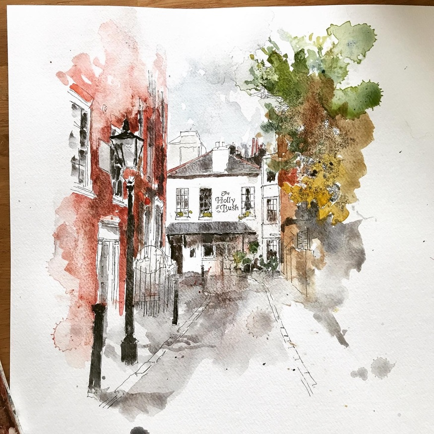 Watercolour Hampstead Village