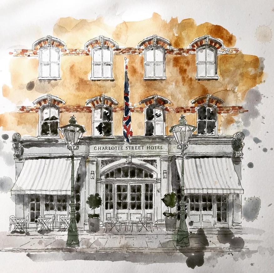 Watercolour of Charlotte Street Hotel
