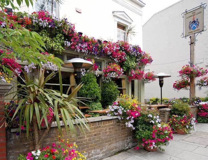 Pretty flowers and great food at The Ladbroke Arms - one of London's best hidden gastropubs