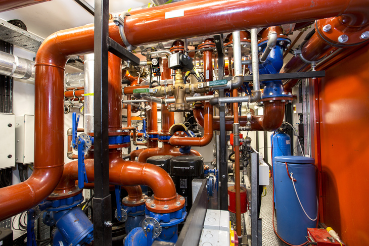 Pipes and tubes inside Bunhill 2 Energy Centre