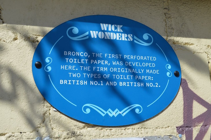 A plaque in Hackney Wick to Bronco toilet paper.