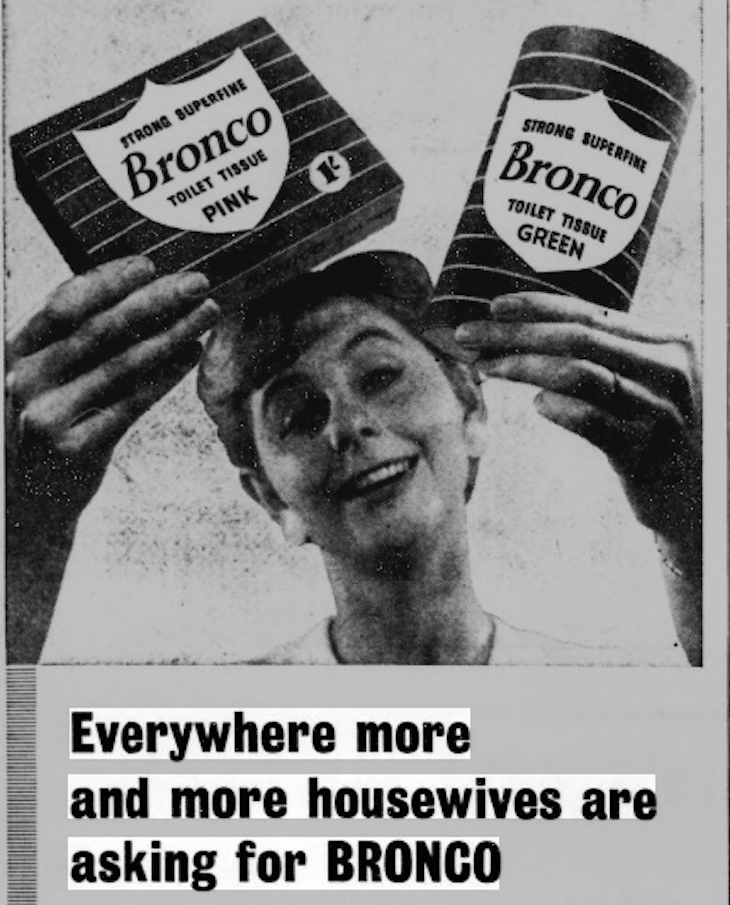 Although the rolls found adherents, flat packs could still be bought into the 1960s. This lady gets a thrill from both.