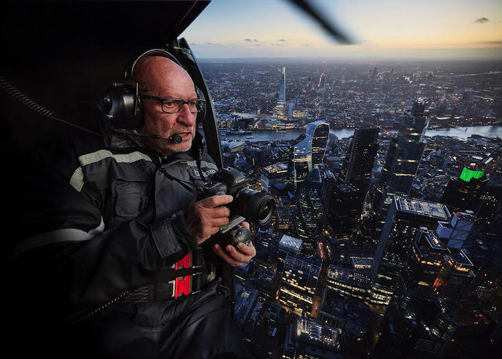 Paul Campbell in helicopter