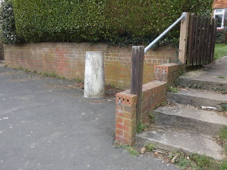 A concrete pillar representing Neptune on a pavement on a residential road, next to a hedge and a brick wall.