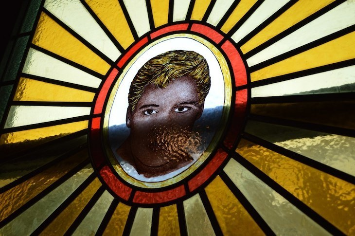 Elvis's head in stained glass