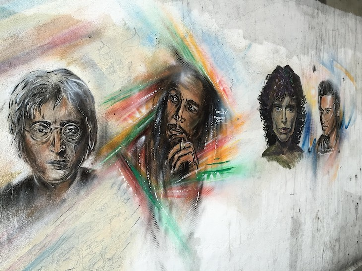 A street art tribute to four great musicians