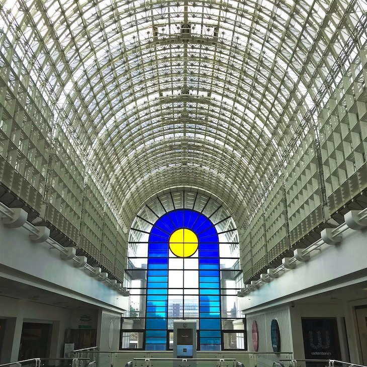 The arched nave of the Bentall centre in Kingston looking like a cathedral. By gum its impressive.
