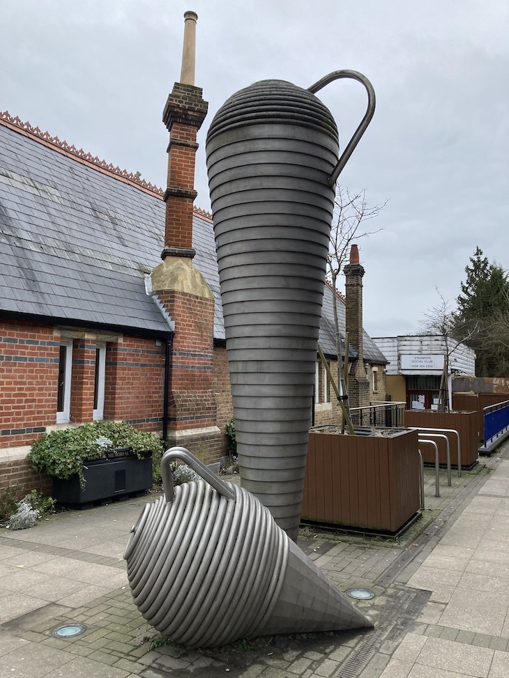 Sculpture representing pottery from Brockley Hill, on show in Stanmore