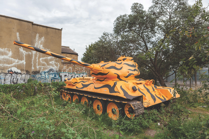 Stompie the Soviet tank, a yellow and black painted tank in long grass
