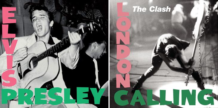 Elvis Presley and London Calling album covers