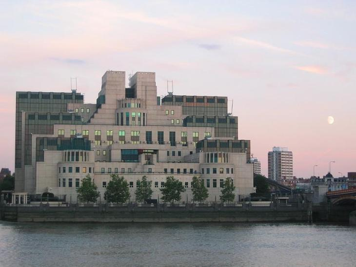 The MI6 building at Vauxhall, also known as the SIS building. White and green stepped block.