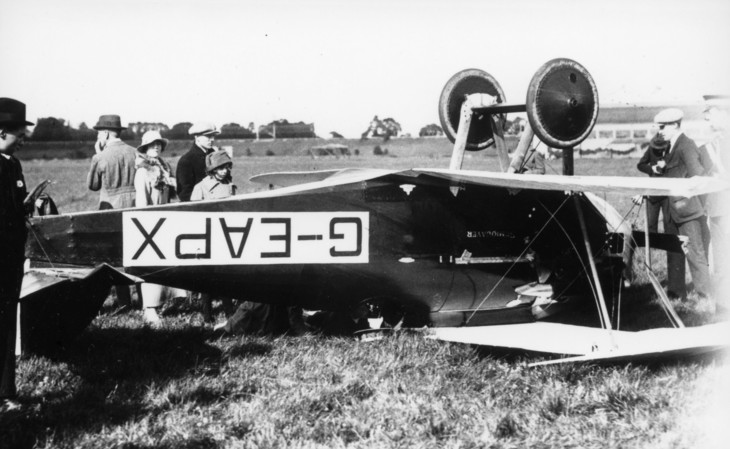 The Miles Semiquaver plane crashed just after winning the 1920 Aerial Derby