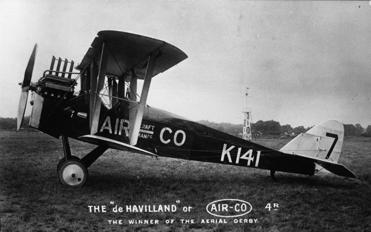 The DH.4R flown by G Gathergood to wind the 1919 Victory Derby