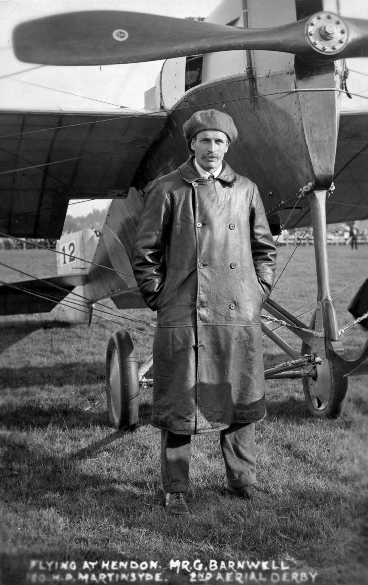George Barnwell with his Martinsyde Monoplane, entrant in the 1913 Aerial Derby
