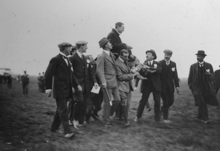 Tom Sopwith, winner for the first Aerial Derby, held aloft in 1912