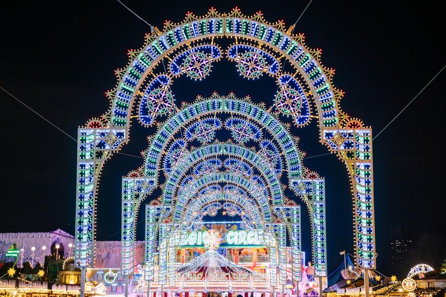 A glittery gateway of fairy lights