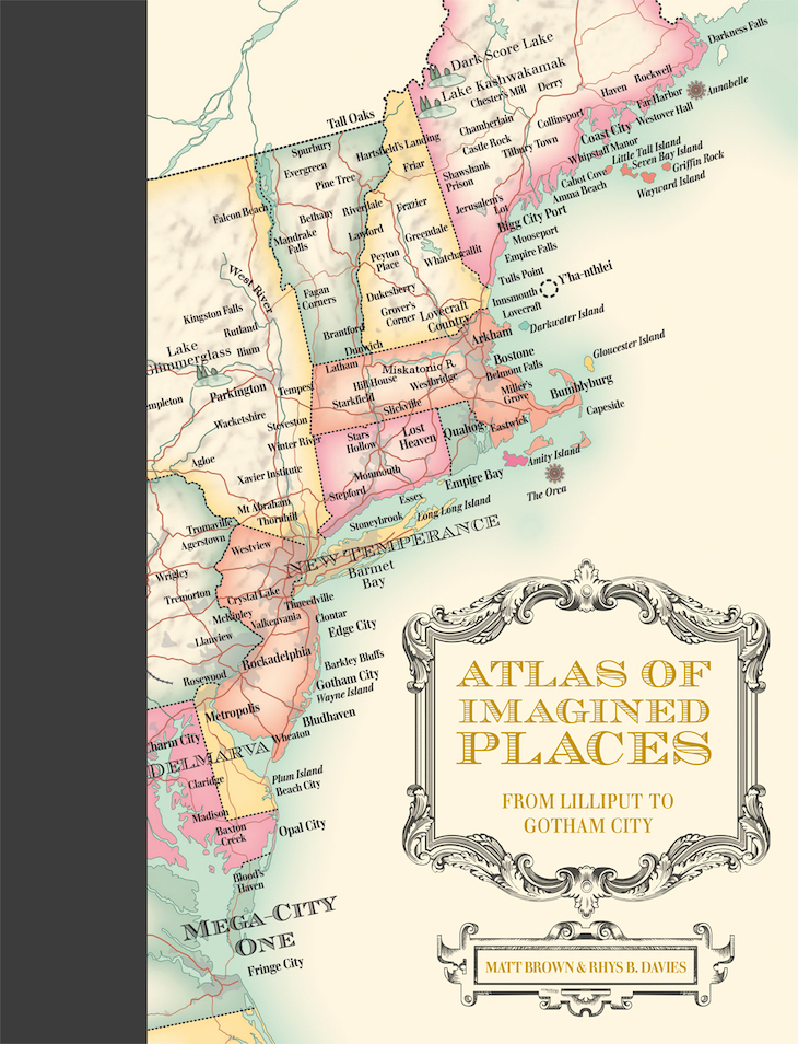Front cover of the atlas showing the east coast of America and a cartouche with the title.