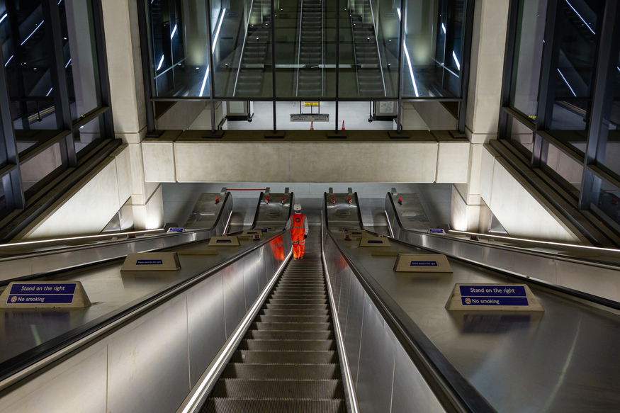 An escalator at Nine Elms