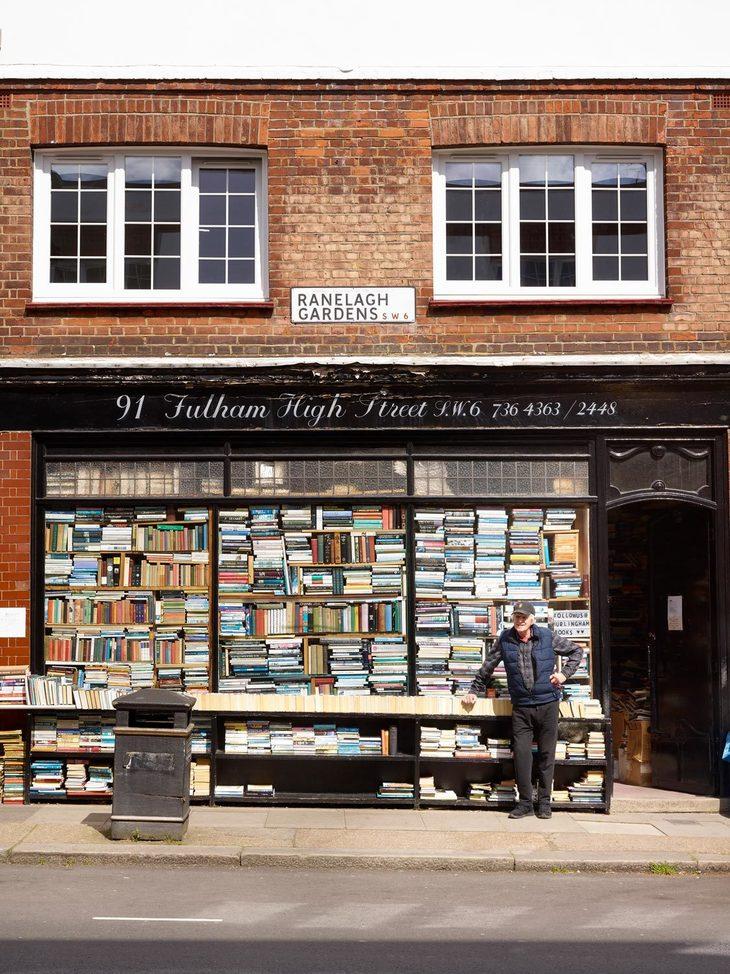 Ray Cole outside his shop hurlingham books