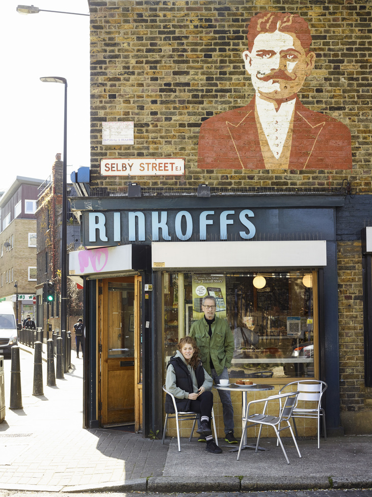 rinkoff's bakery with its mural of its founder