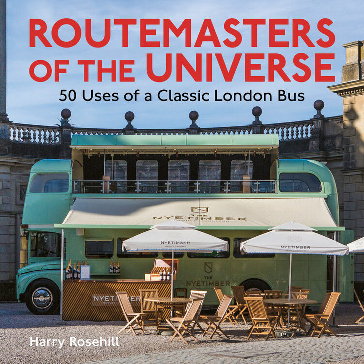 Routemasters of the universe front cover, feating a green bus bar
